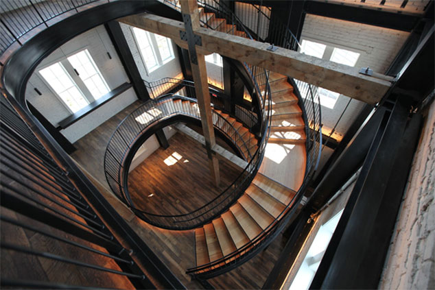 stairs in the tasting room