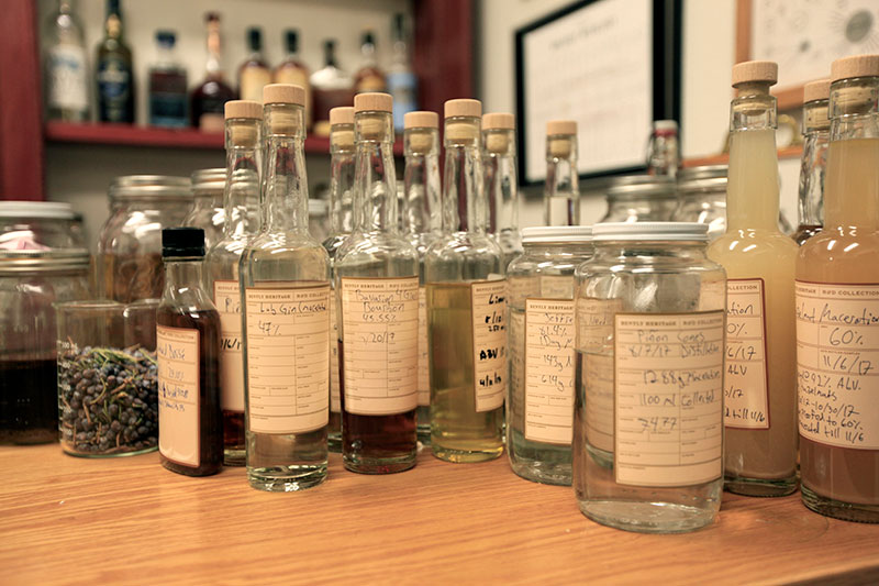 Small-batch samples of estate spirits made in our lab.