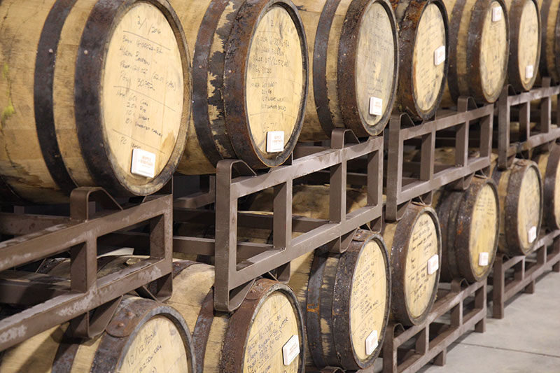 Barrel aging in our Rickhouses, located on our estate distillery complex.